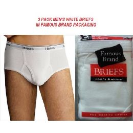 48 Units of FRUIT LOOM - HANES MEN'S 3 PACK WHITE BRIEFS IN FAMOUS BRAND PK - Mens Underwear