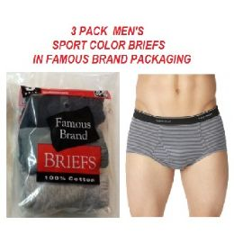48 Units of FRUIT LOOM / HANES 3 PK MEN SPORT COLOR BRIEFS / FAMOUS BRAND PK. - Mens Underwear
