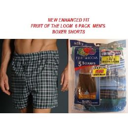 24 Units of FRUIT OF THE LOOM NEW ENHANCED FIT! 6 PACK MEN'S BOXER SHORTS - Mens Underwear