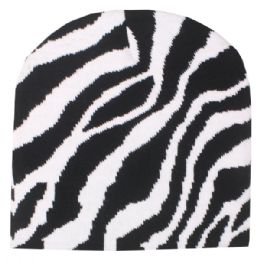36 Units of Zebra Printed Beanie Hat - Winter Beanie Hats