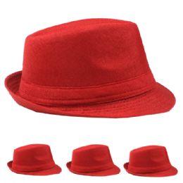 48 Units of Red Fedora Hat Adult Size - Fedoras, Driver Caps & Visor