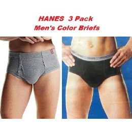 24 Units of HANES 3PK MEN COLOR BRIEFS ONLY SIZE LARGE (SLIGHTLY IMPERFECT - Mens Underwear