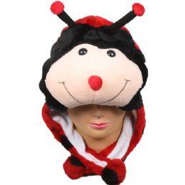 36 Units of Cute Plush Ladybug Animal Character Earmuff Hat - Winter Animal Hats