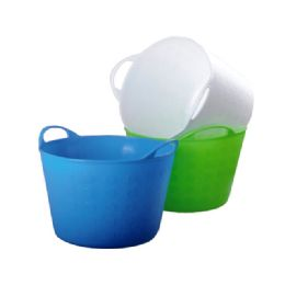 24 Units of Basket With Handle Assorted Color - Buckets & Basins