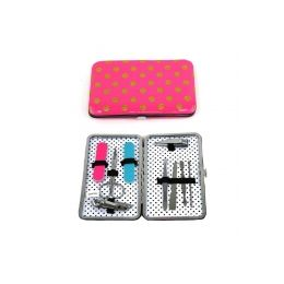 120 Units of Impressive 9 Piece Manicure Set Packed In Indvidual Window Boxes. Cute Pink With Polka Dot Design - Manicure and Pedicure Items
