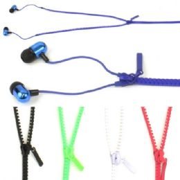 50 Units of Zipper Ear Buds In Assorted Colors. - Headphones and Earbuds