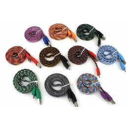100 Units of 3 Foot High Speed Flat Braided Charging Cable In Assorted Colors - Cables and Wires
