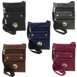 120 Units of MID SIZE CROSS BODY BAG FEATURING A TREE LOGO IN ASSORTED PRINTS & COLORS - Shoulder Bags & Messenger Bags