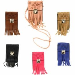 120 Units of DOUBLE POCKET CROSS BODY BAG IN ASST COLORS WITH FRINGE - Shoulder Bags & Messenger Bags