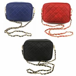 24 Units of DESIGNER INSPIRED QUILTED BAG IN ASST COLOR PACK OF NAVY, RED & BLACK - Shoulder Bags & Messenger Bags