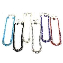 240 Units of Crystal With Bling Necklace And Earring Set In Assorted Colors - Necklace Sets