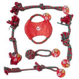 72 Units of Dog Toy Christmas Rope Chews - Christmas Novelties