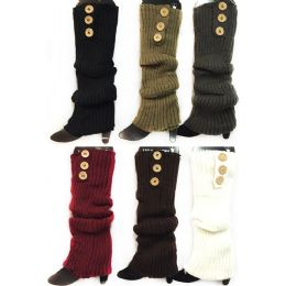 24 Units of Knitted Long Boot Toppers Leg Warmers 3 Buttons - Womens Leg Warmers