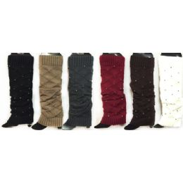 24 Units of Knitted Boot Toppers Leg Warmers With Rhinestones - Womens Leg Warmers