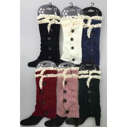 24 Units of Short Boot Topper Leg Warmer With Lace Trim And Buttons - Womens Leg Warmers