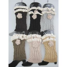 24 Units of Boot Topper Leg Warmer With Flower Neutral Color Ast - Womens Leg Warmers