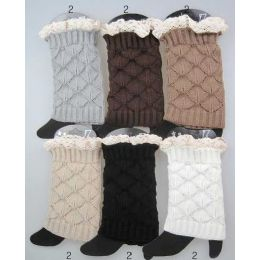 24 Units of Interlocking Knitted Boot Toppers Leg Warmers with Lace - Womens Leg Warmers