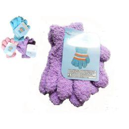 144 Units of Gloves Fuzzy 1pr Kid 18g Strip Children - Fuzzy Gloves