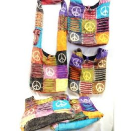100 Units of Peace Sign Nepal Hobo Bags Assorted Style Bulk - Bags Of All Types