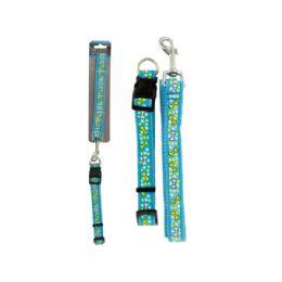 36 Units of Bone Print Dog Leash & Adjustable Collar - Pet Collars and Leashes