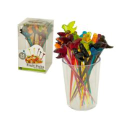 36 Units of Colorful Bird Fruit Picks with Holder - Party Paper Goods