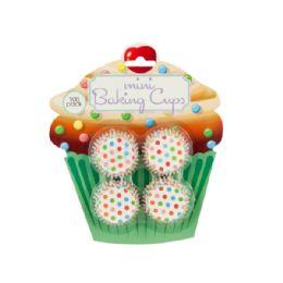 72 Units of Mini Polka Dot Print Baking Cups - Baking Supplies