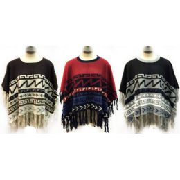 6 Units of Knitted Poncho With Abstract Geometric Patterns - Womens Sweaters & Cardigan