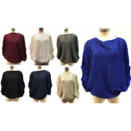 12 Units of Solid Color Knitted Poncho With Sequins - Womens Fashion Tops
