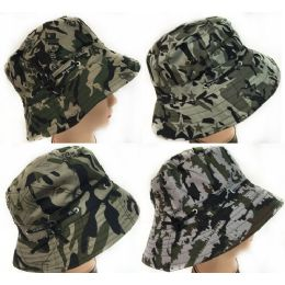 48 Units of Camo Bucket Hat with Adjustable Strap assorted colors - Bucket Hats