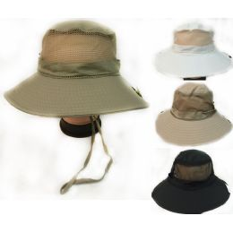 36 Units of Solid Color Fishing Hat With Adjustable Straps Assorted Colors - Fishing Items