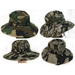 36 Units of Camo Fishing Hat With Mesh Assorted Colors - Fishing Items