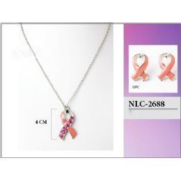 36 Units of Breast Cancer Pink Ribbon Necklace with Earring - Necklace Sets