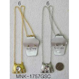 120 Units of Gold & Silver Colored Earring Necklace Purse Design - Necklace Sets