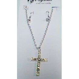 60 Units of Clear Rhinestone Cross Necklace/ Earring Set one style, one color, in each dozen pack. - Necklace Sets