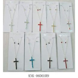 120 Units of Cross Necklace with Earring set assorted colors, one style in each dozen pack. - Necklace Sets