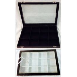 "4 Units of Glass Showcase Display Box Tray Chest Case Collector Two Colors, White and Black inside. Size: 10""*14"", 12 small Squares inside. - Jewelry Box"