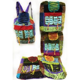 10 Units of Multiple Ripped Patch Tie Dye Cotton Handmade Backpacks - Draw String & Sling Packs