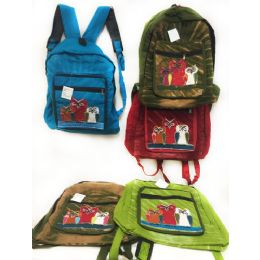10 Units of Solid Color Three Owl Tie Dye Cotton Handmade Backpacks - Draw String & Sling Packs