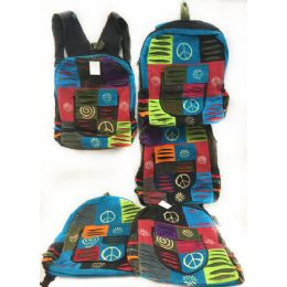 10 Units of Multiple Peace Sign Tie Dye Cotton Handmade Backpacks - Draw String & Sling Packs