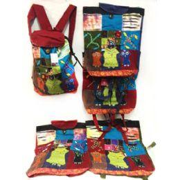 10 Units of Three Owls Tie Dye Cotton Handmade Backpacks - Draw String & Sling Packs