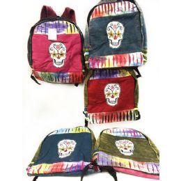 10 Units of Skull Design Tie Dye Cotton Handmade Backpacks - Draw String & Sling Packs