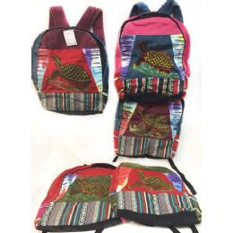 10 Units of Large Turtle Tie Dye Cotton Handmade Backpacks - Draw String & Sling Packs