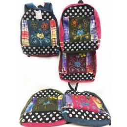 10 Units of Owl Head Flower Tie Dye Cotton Handmade Backpacks - Draw String & Sling Packs