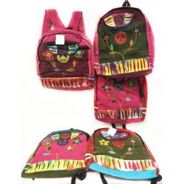 10 Units of Peace Sign Flower Tie Dye Cotton Handmade Backpacks - Draw String & Sling Packs