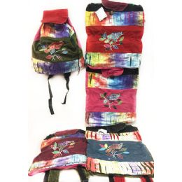 10 Units of Tie Dye Nepal Cotton Backpacks Bird on Branch - Draw String & Sling Packs