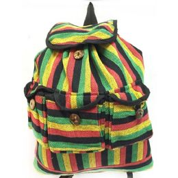 10 Units of Nepal Cotton Hand Made Backpack Three Pocket Rasta - Draw String & Sling Packs