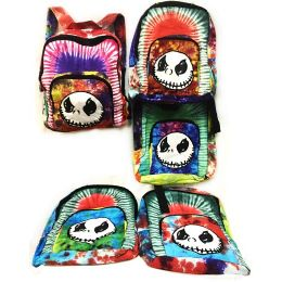 10 Units of Tie Dye Nepal Cotton Backpack with Skull Design - Draw String & Sling Packs