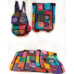 10 Units of Tie Dye Nepal Cotton Backpacks Multi Color Peace Patch - Draw String & Sling Packs