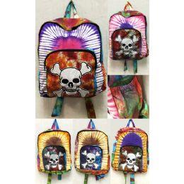 10 Units of Jolly Roger Skeleton Head with Bones Tie Dye Backpacks - Draw String & Sling Packs