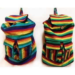 10 Units of Tie Dye Nepal Cotton Backpacks Multi Color Two Pockets - Draw String & Sling Packs